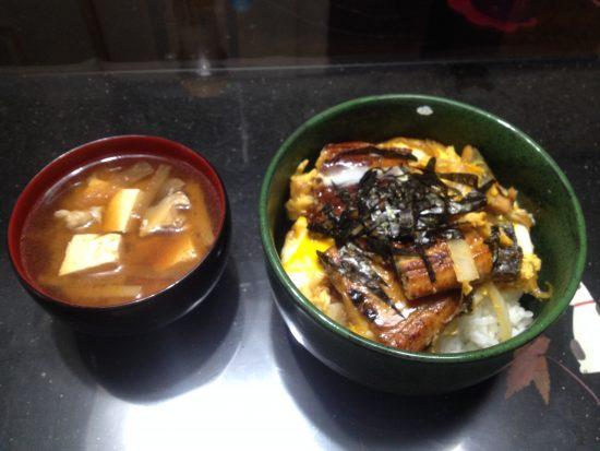 柳川うなぎ、味噌汁