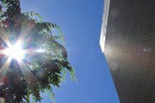 太陽とビルディング