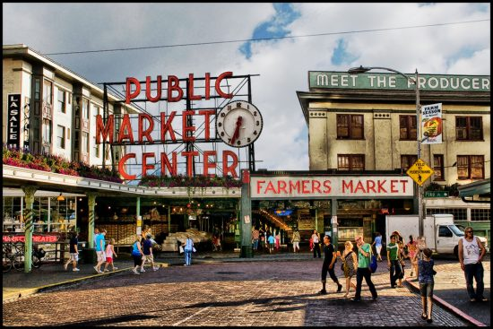 Pike Place Market-パイクプレイスマーケット、ワシントン州シアトル